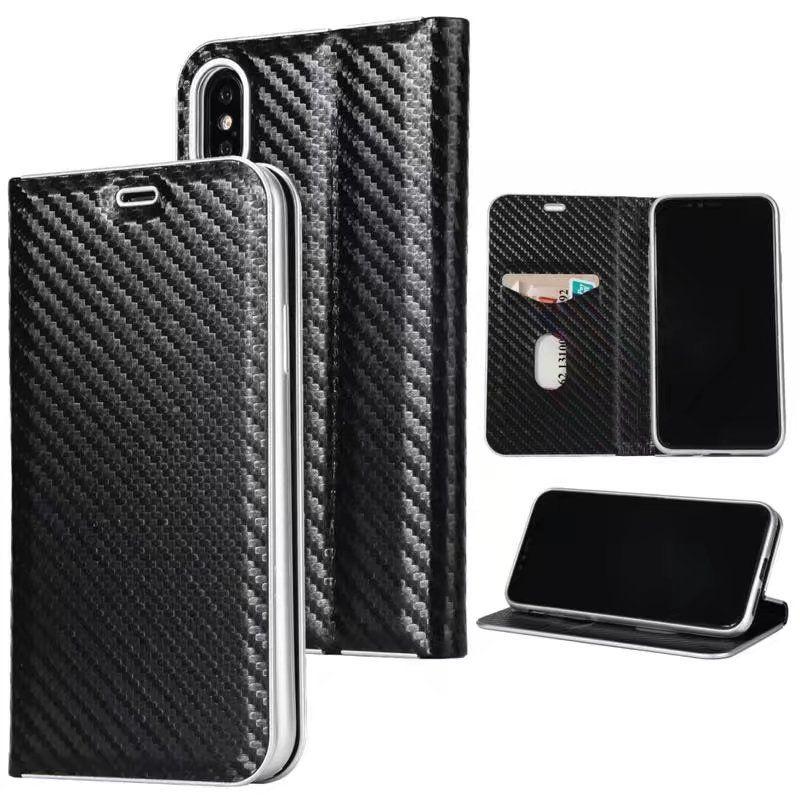 100% authentic 3eae8 eb328 hot sale cell phone case super slim card holder flip carbon fiber leather  wallet case for iphone x 6s