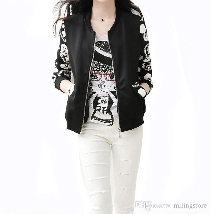 d94e767e8674 Women Baseball Jacket Zipper Double Pocket Short Jackets Print Cute Fashion  Long Sleeves Lady Autumn Oversize Coat Jacket Biker Leather Jackets Womens  ...