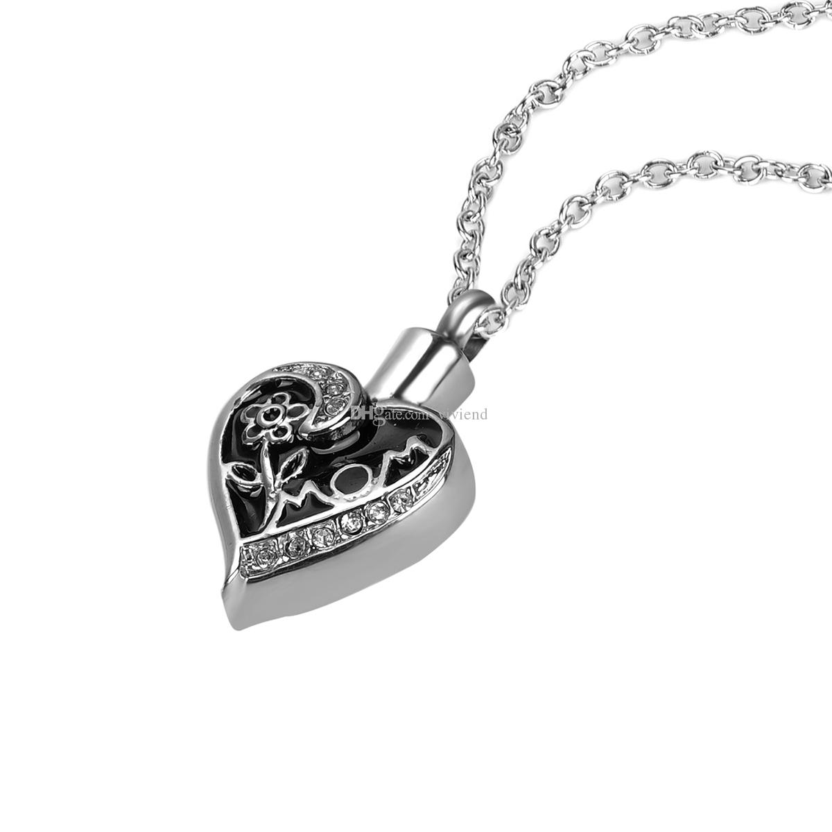 Wholesale Flower MOM Heart Urn Necklace Cremation Ashes ...