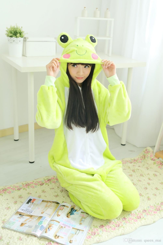 Unisex Men Women lady clothes Adult Pajamas Cosplay Costume Animal Onesie Sleepwear Cartoon animals Cosplay CUTE Frog sleepsuit / jumpsuit