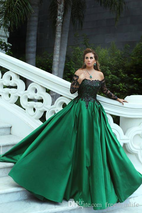 Arabic Style Black And Green Evening Dresses Long Sleeve Lace Modest ...