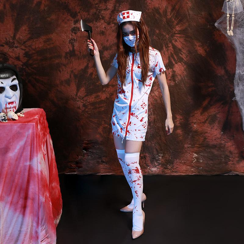 adult halloween scary zombie nurse costume women sexy scary nurse fancy dress halloween party cosplay spooky splatter costume halloween costumes online with