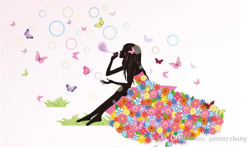 Цветок девушка бабочка домой наклейки феи феи стены наклейки спальня диван фона декор девочек леди окна комнаты DIY искусство