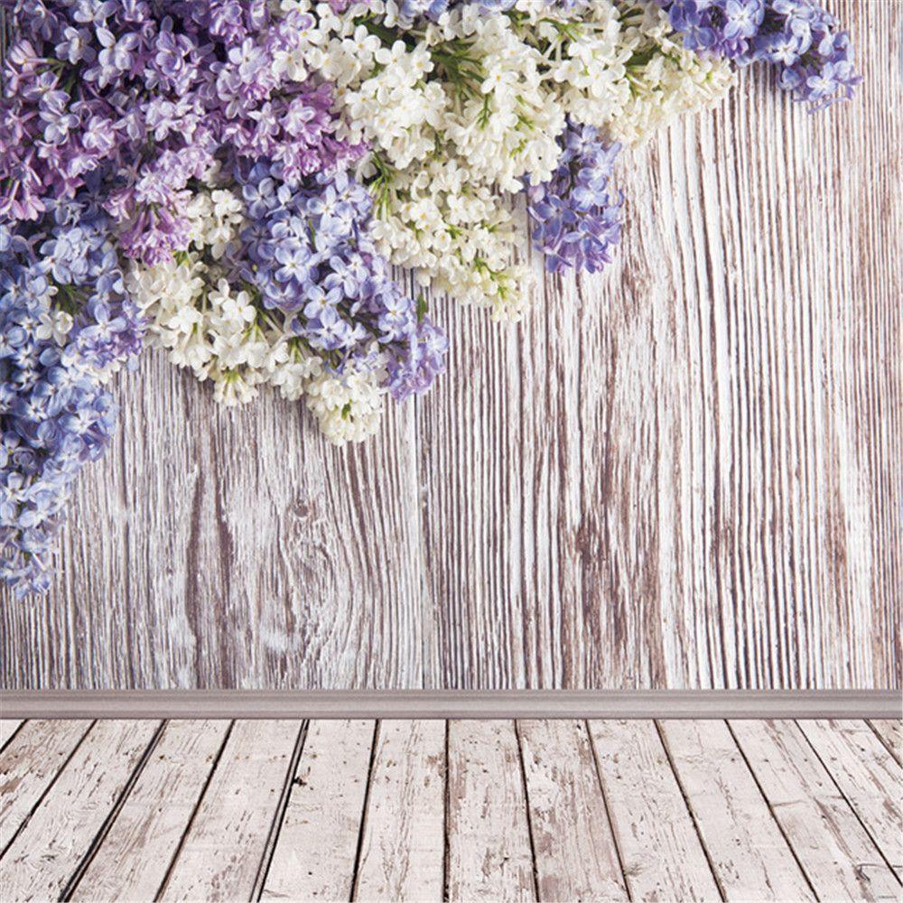 2018 vintage wood wall floor photo studio backgrounds vinyl fabric white purple lilac flowers. Black Bedroom Furniture Sets. Home Design Ideas