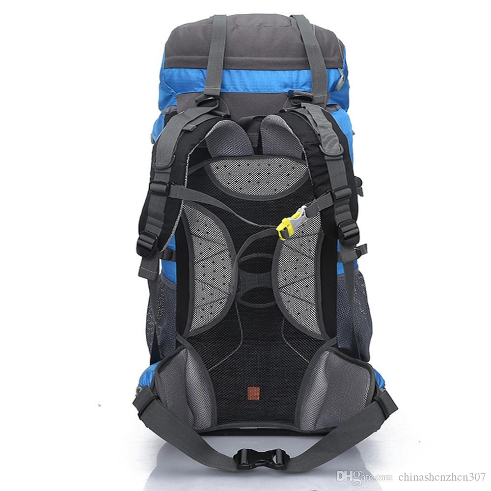 65L Outdoor Backpack Mountaineering Rucksack Holder Carrying Shoulder Bag Hiking Camping Packsack with Rain Cover