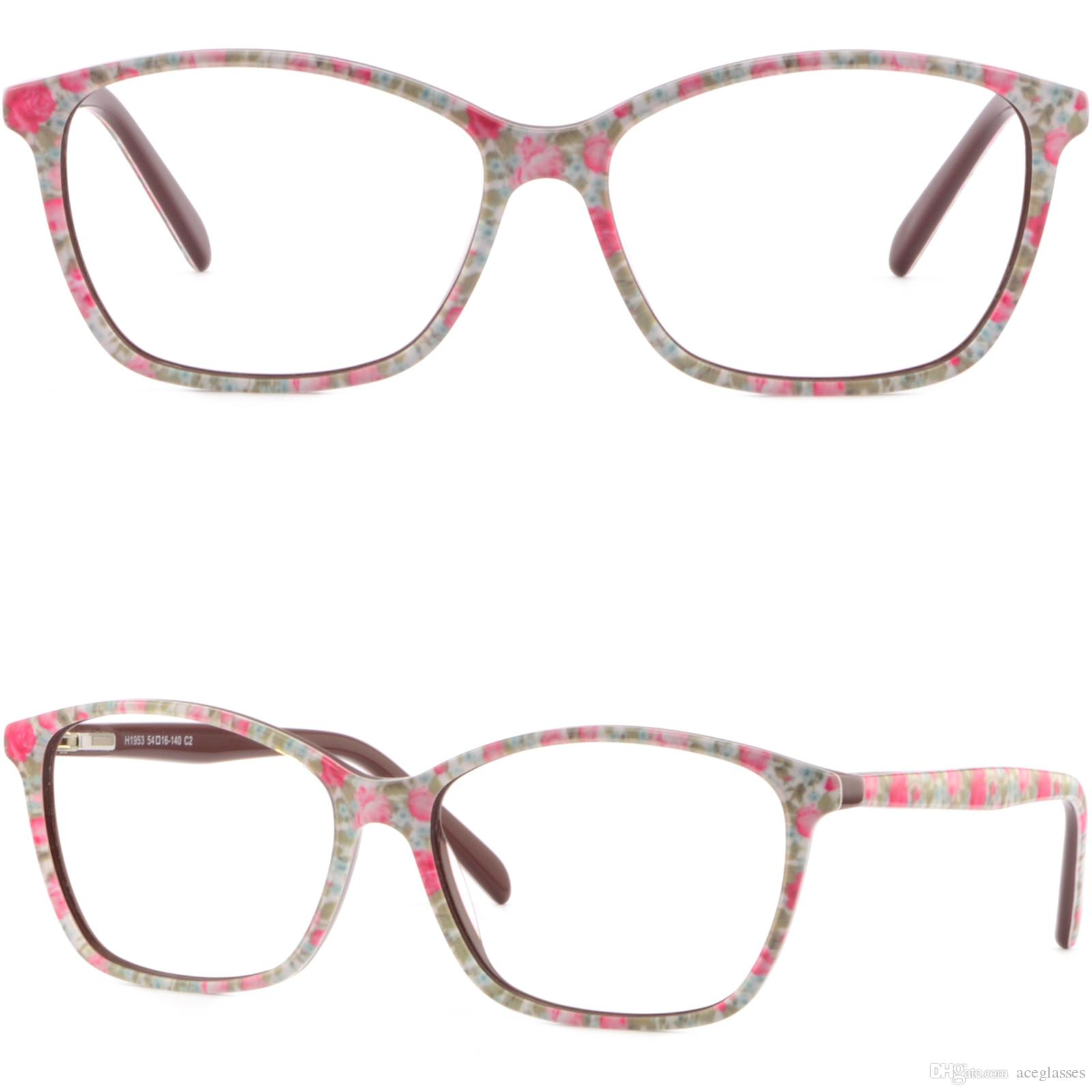 Thin Light Women\'S Plastic Frames Spring Hinges Glasses Floral ...