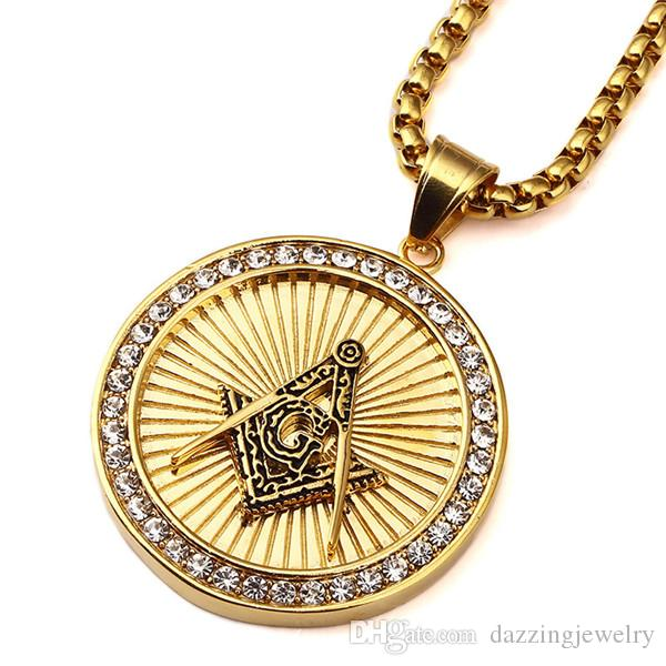 Unique design hot sale items men's stainless steel round coin freemason signet past master masonic AG emblem pendant necklace jewelry
