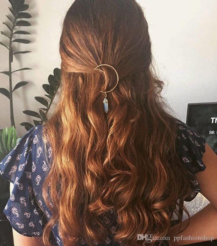 Europa e nos Estados Unidos jóias primavera e verão maré cabelo ornamentos liga lua hexagonal pingente acessórios para o cabelo grampos de cabelo beautifu