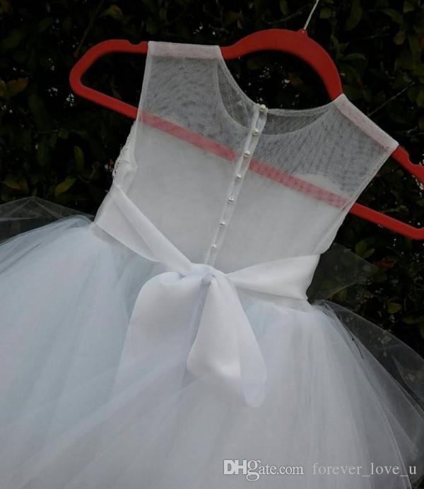 꽃 소녀 쉬어 보석 목 돌아 가기 레이스 아플리케 구슬 크리스탈 장식 띠를 통해 참조 결혼식 공주 키즈 공식 파티 드레스 드레스