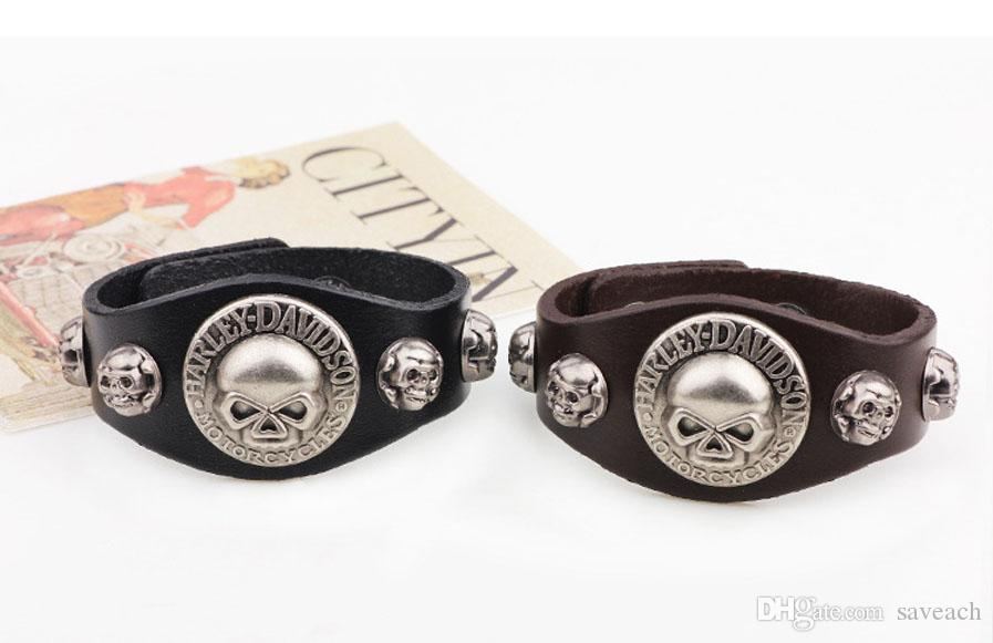 New Arrival Wide Leather Bracelet Retro Cuff Rope Bangles Cowboy Rider Harley Motor Cycles Punk Skull Rivet Men Bracelets