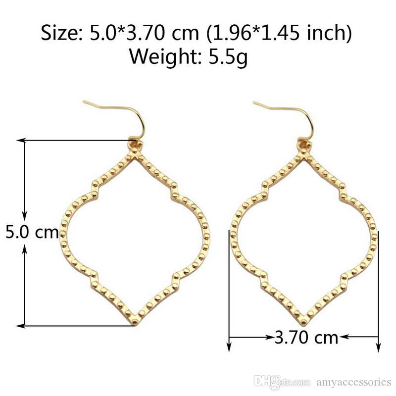 Christmas Gift Boutique Filigree Teardrop Frame Earrings Cutout Gold Filigree Magnolia Quatrefoil Frame Statement Drop Earrings