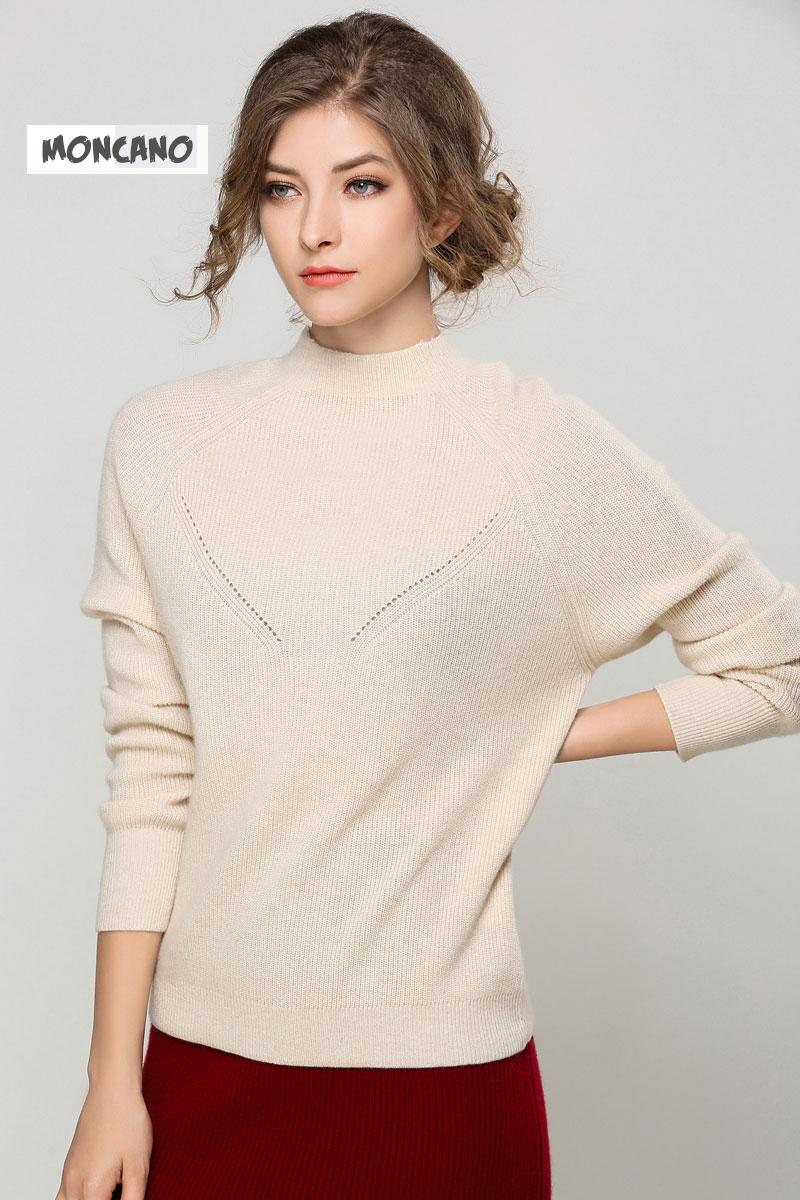 2017 Moncano Cashmere Sweater Women 100% Pure Cashmere O Neck Soft ...