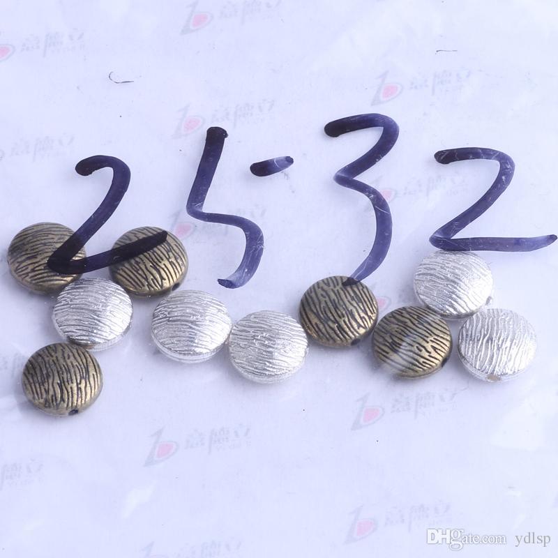 streak plat rond charme de perle d'entretoise / 5.4 * 4.9mm argent antique / alliage de zinc pour pendentif de bricolage fabrication de bijoux accessoires 2432