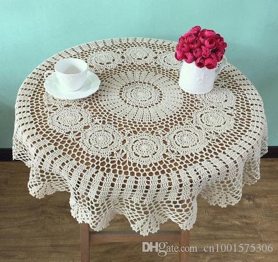 Lovely Crochet Pattern Round Tablecloths, Handmade Crocheted Table Topper  For Mom, Lace Table Cover, Sofa Cover For Home Decor ~ 90cm Round Table  Linen ...