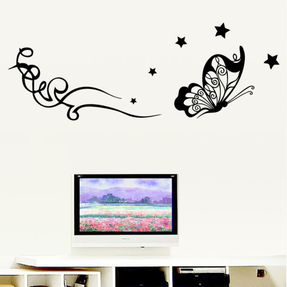3d hot flying butterfly star vine flower wall sticker decal 27