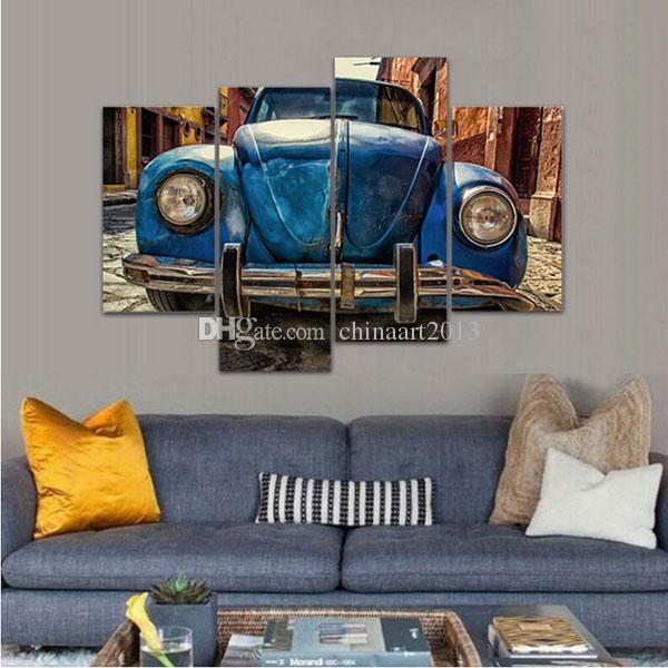 Satın Al Retro Araba Modern Basit Boyama 4 Parça Hd Baskı Boyama