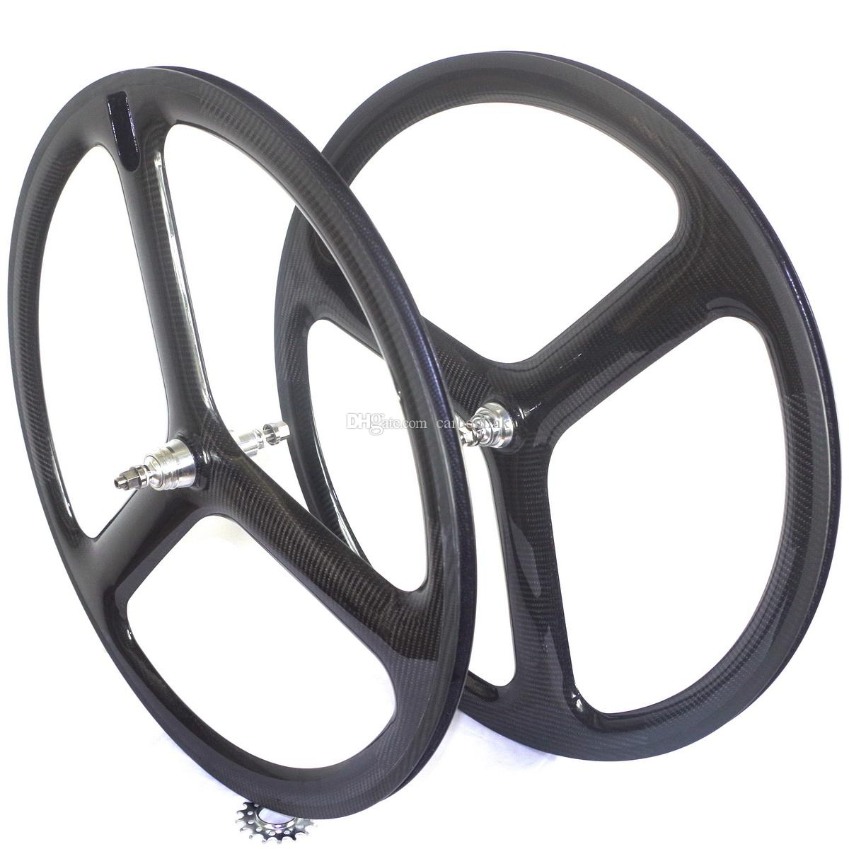 700c 3 Spoke Carbon Fiber Wheels Tri Spoke Carbon Wheelset Carbon