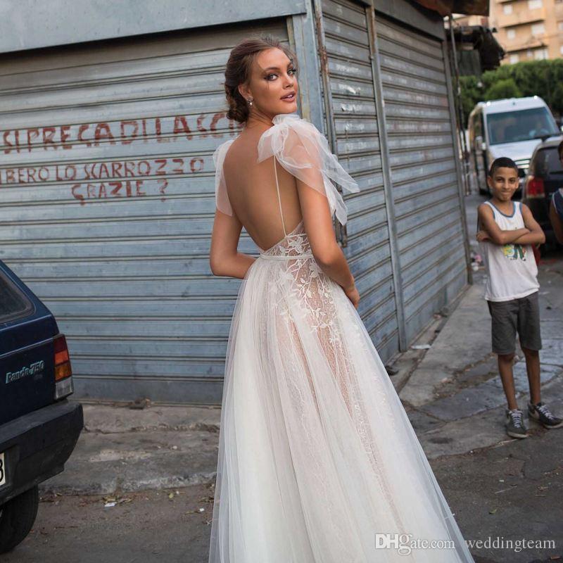 Berta Bohemian Backless Gelinlik Aplike Bir Çizgi Derin V Boyun Bölünmüş Yan Dantel Gelin Törenlerinde Tül Vestido De Novia