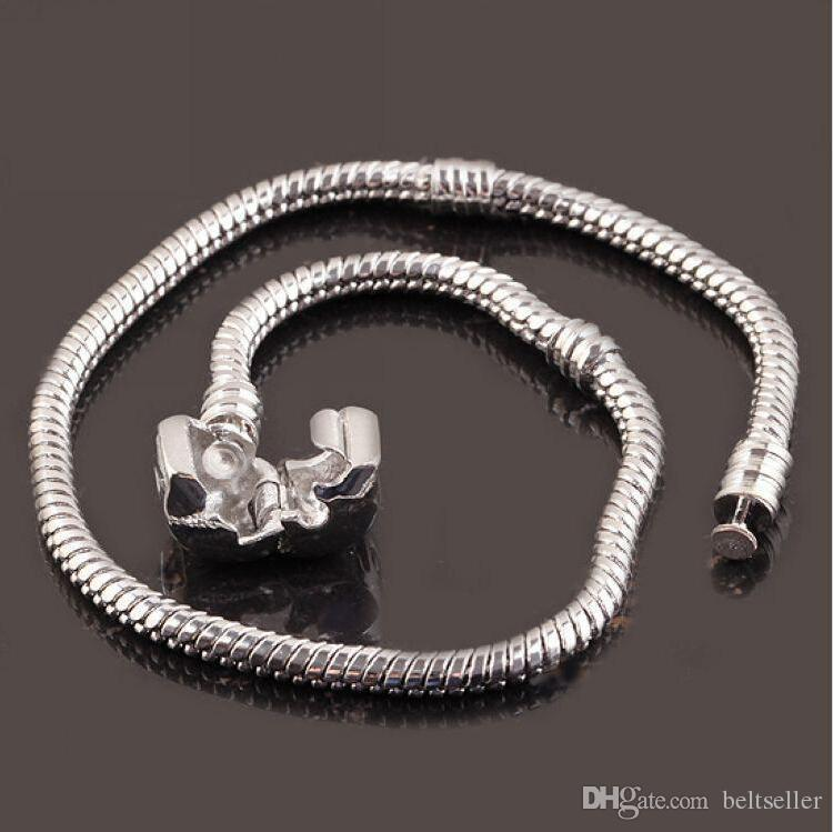 16 to 23cm long 925 Sterling Silver Plated Snake Chain Bracelet Fit European Beads With 925 Free Shipping