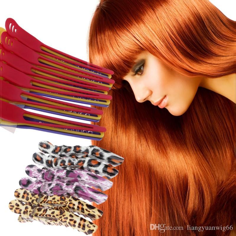 6 Stücke Haarnadel Clip Pro Friseur Aluminium Kunststoff Clips Schellen Salon Barber Abschnitt Haar Griff Clip Styling Werkzeuge Zubehör