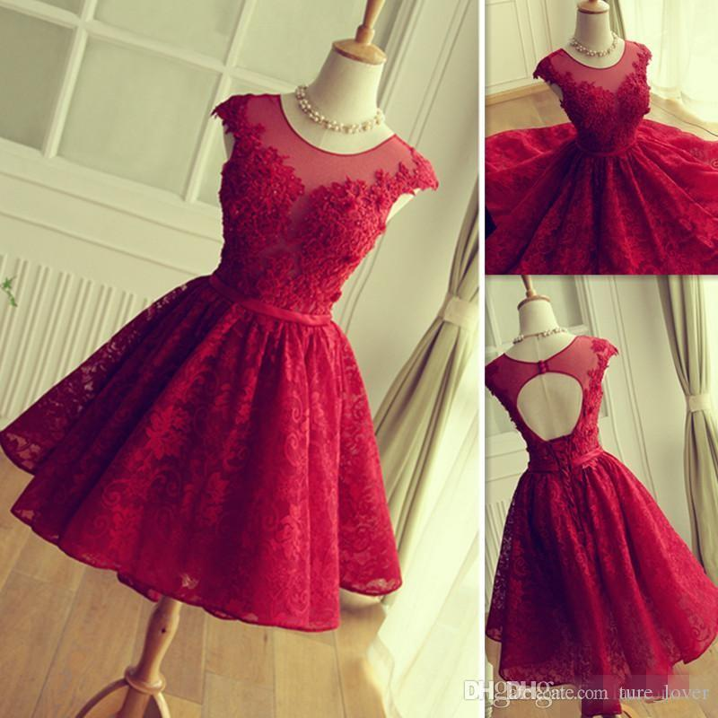 cae466164 2016 Red Lace Prom Dresses Short Mini Skirt Sheer Neck Tulle Appliques  Graduation Homecoming Party Gowns Vestidos De Fiesta Cortos
