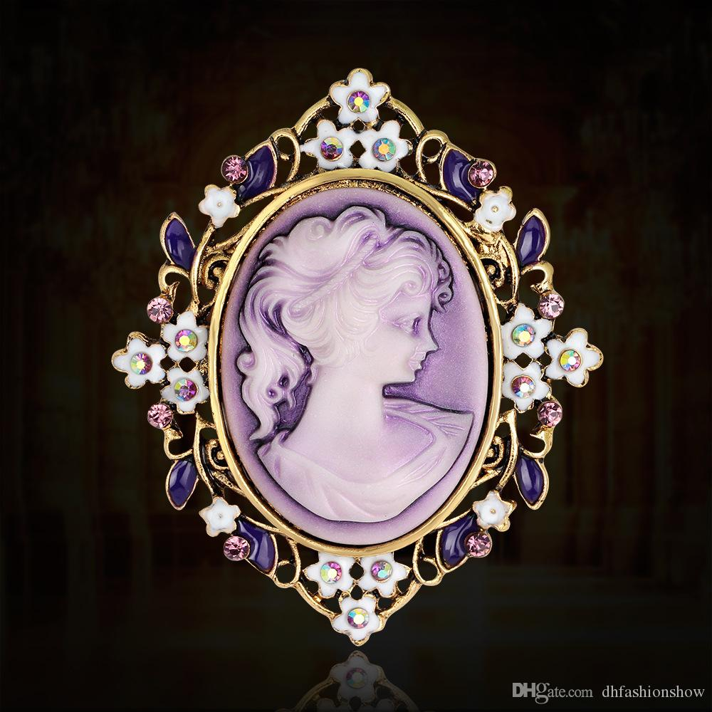 Vintage Beauty Queen Cameo Brooch Pins for Women Elegant Scarf ... 371f0337f6dd