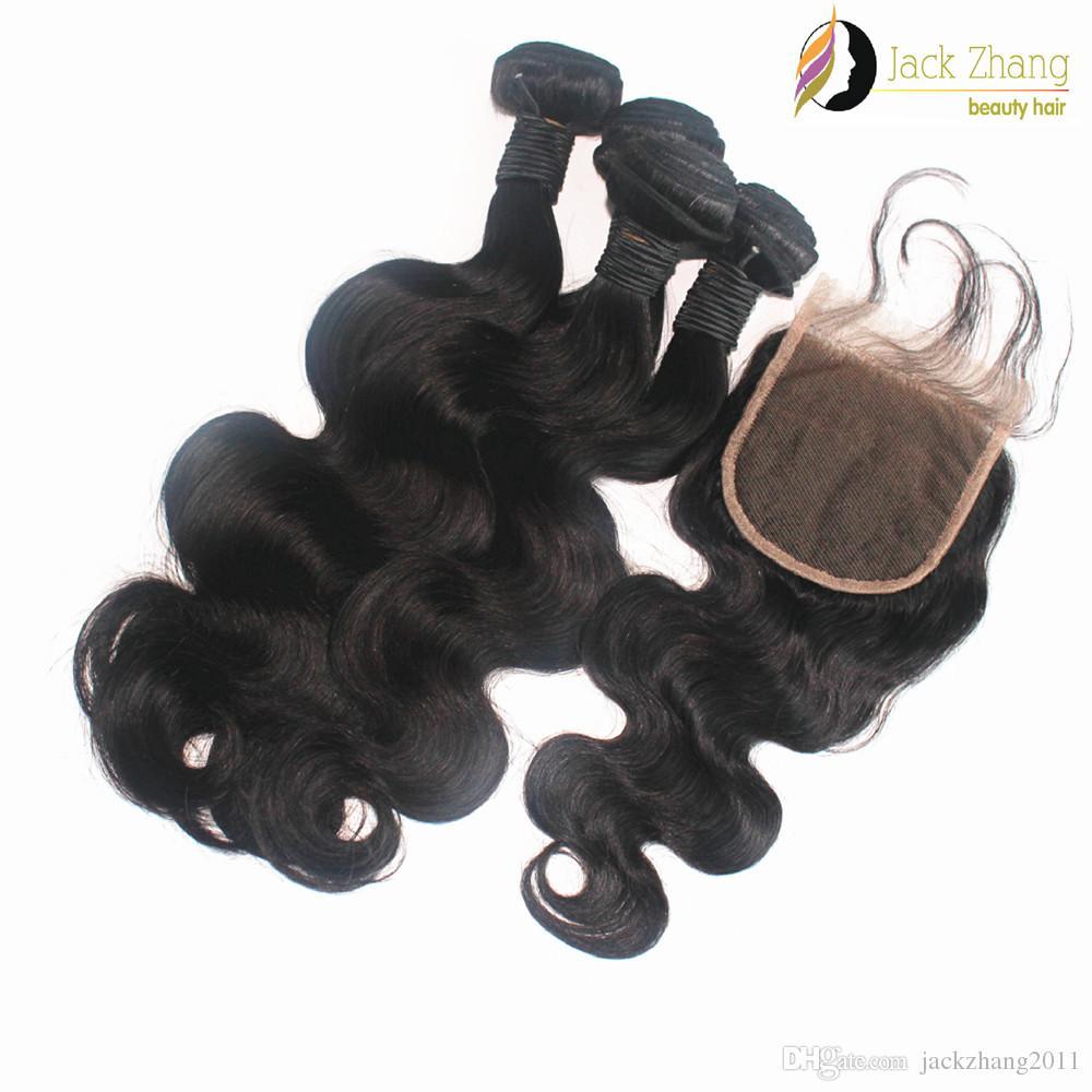 Bundle di capelli birmano chiusura con pizzo stessa lunghezza dei capelli dell'onda del corpo di colore naturale non trasformati estensione dei capelli umani birmani
