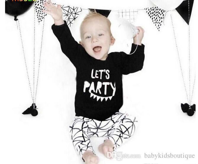 New-Jungen-Kleidung Kinder Brief gedruckt lange Ärmel T-Shirt und Hose 2 Stück Anzug Kleidung für Kinder Outfits