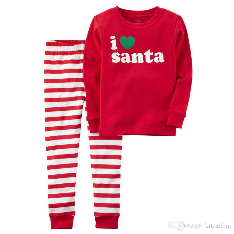 be45f9ec2 Girls Christmas Printing Pajamas Kids I Love Santa Letters Printed Homewear  Baby Cute Xmas Clothing For 1 5T Christmas Pajamas For Kids Kids Christmas  ...