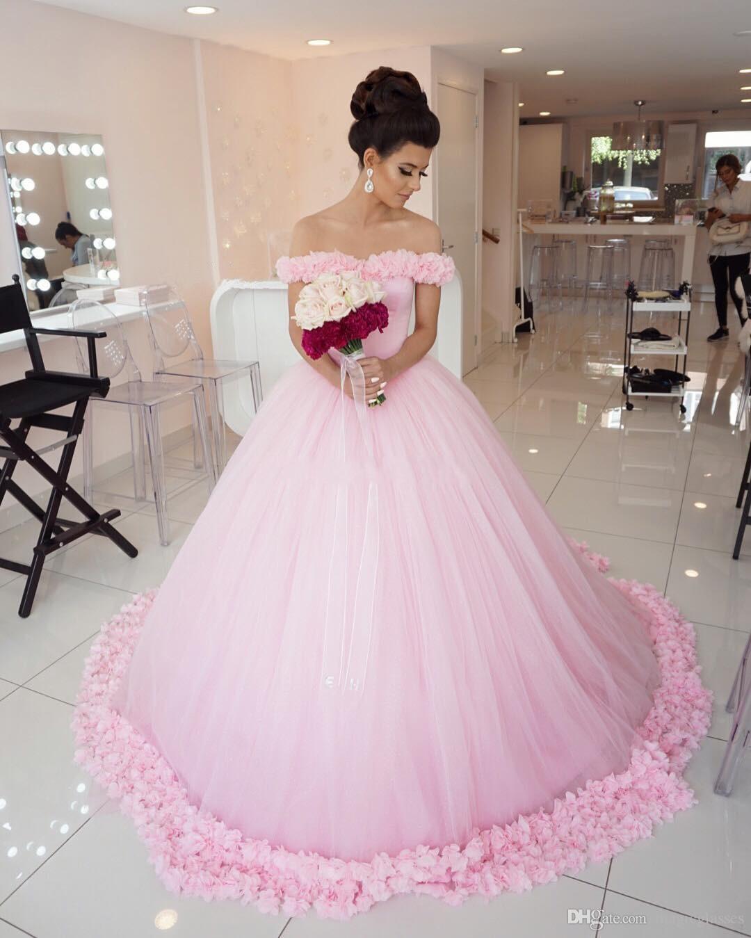 2017 wunderschöne Ballkleid Abendkleider Schulterfrei Kurzen Ärmeln Tüll Puffy Floral Lange Abendkleid Fairytale Rosa Quinceanera Kleider