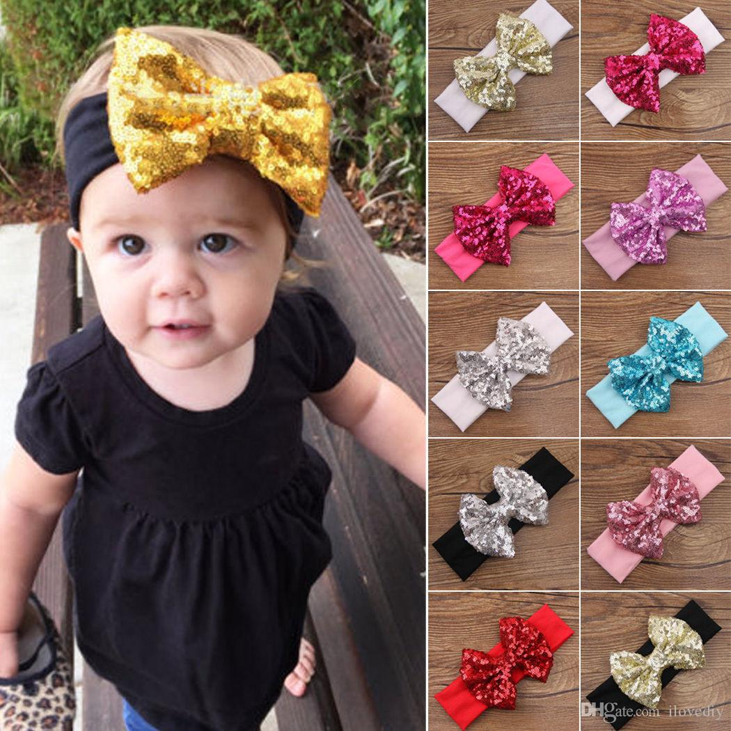 Hair accessories headbands uk - 2018 Baby Infant Girls Hair Band Sequined Bowtie Headband Turban Knot Hair Accessories From Ilovediy 4 96 Dhgate Com