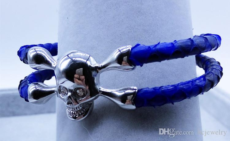 BC neue trendige Mode handgefertigte Stachelrochen Armband, exotische Python Leder Armband, echte Schlangenleder Armreifen,