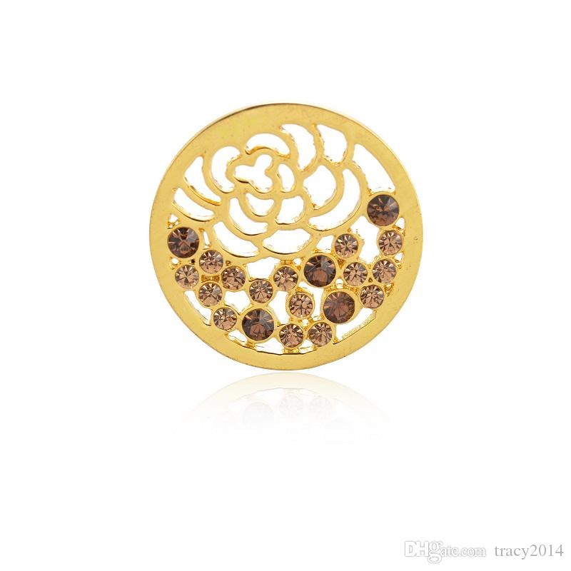 Hot 33mm Mi Moneda coins gold silver white K gold coin fit for locket pendants necklaces DIY pendant Coin crystal flower pendants