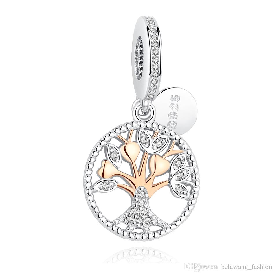 Family Tree of Life Heart 925 Sterling Silver Charms Beads for Bracelets Gifts Jewellery Valentine's Day ShgdmHOOc