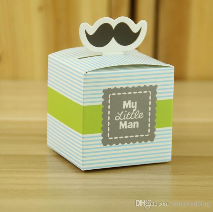 """""""My Little Man"""" Mustache Blue Green Wedding party Birthday boy baby shower Candy Box Gift Packaging Chocolate Boxes Baby Shower Favors"""