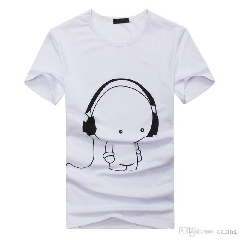 Cuffie Casual Europa ci Stampa maglietta degli uomini delle donne unisex breve Equipaggio del collo Anti-shirt Wrinkl famose star degli uomini di marca carino Tees Polo