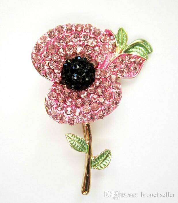 Gold Tone 2 Inch Pink Enamel and Rhinestone Crystal Diamante Poppy Flower Brooch UK Remembrance Souvenir Pins