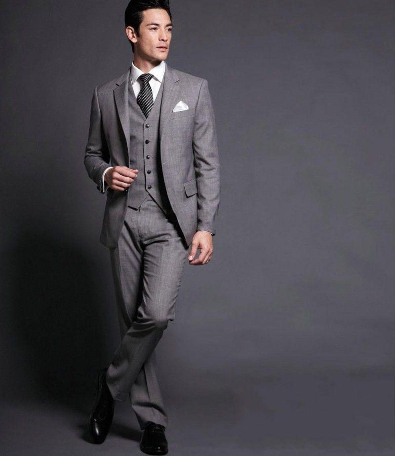 Grey Mens Suits Tuxedos Wedding For Men Latest Design Groom Groomsmen Shawl Collar Bridegroom Three Pieces Tails