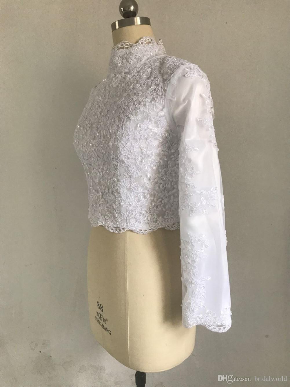 Boleros de Casamento muçulmano com Forro Casacos de Alta Neck Marfim Branco de Manga Longa Lace Frisado Jaqueta De Noiva Shrug 2017 Elegante Envoltório