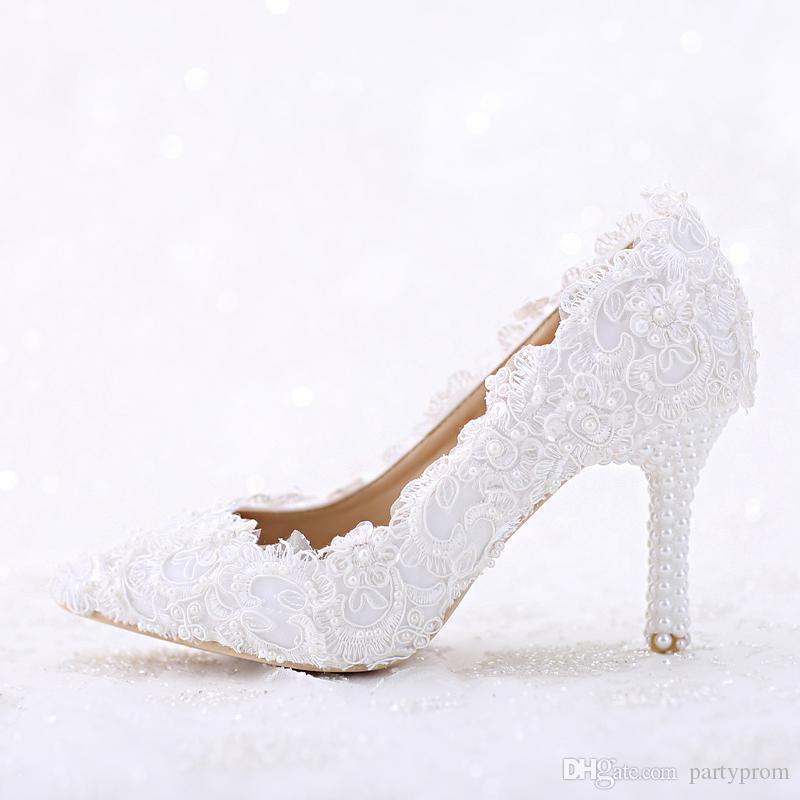 aa1176950c9a2 Pointed Toe White Lace and Pearl Bridal Wedding Shoes Women Thin Heel  Comfortable Dancing Shoes Handmade Birthday Party Pumps