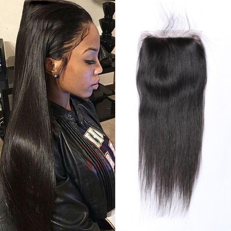 Brazilian Hair 44inch Lace Frontal Human Hair Closure Straight