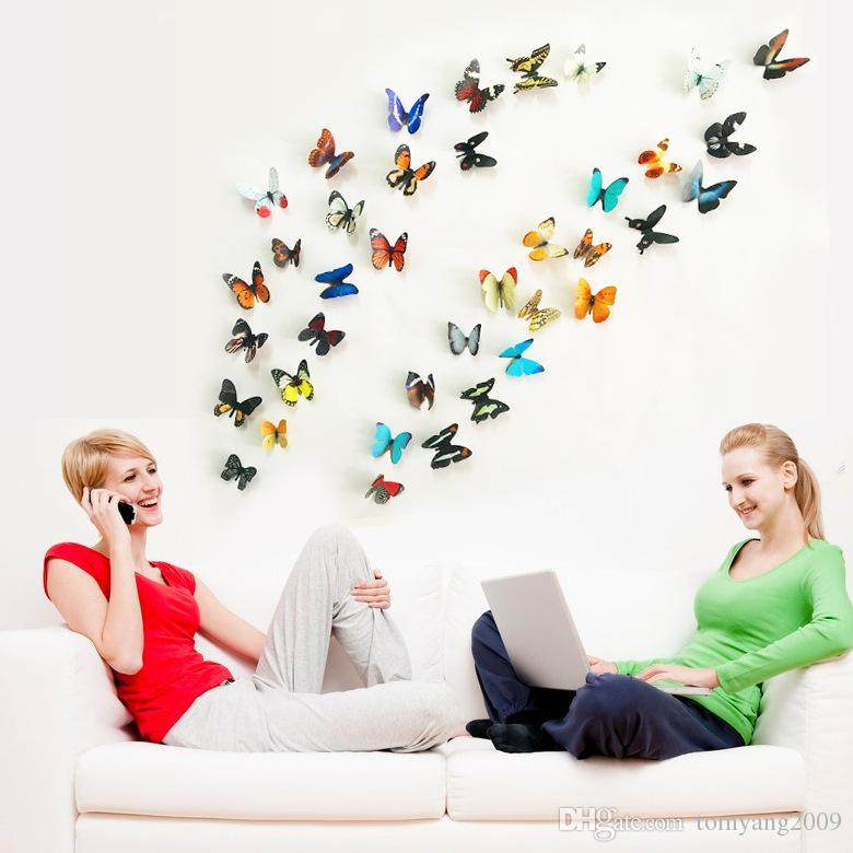 Adesivo da parete PVC Farfalla 3D Set Home Decor Simulazione Farfalla Adesivi murali Salotto Frigorifero 8 Adesivi murali di colori di gruppo