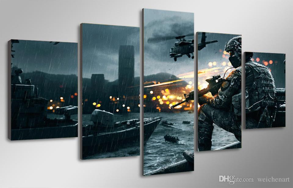 5 Pz / set Senza Cornice HD Stampato scenario campo di battaglia Dipinto Su Tela di Stampa room decor manifesto stampa foto grande arte della parete della tela