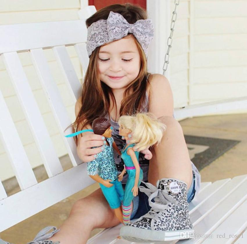 7 kleur baby grote kant boog hoofdbanden meisjes schattige haarband baby mooie headwrap kinderen strik elastische haaraccessoires