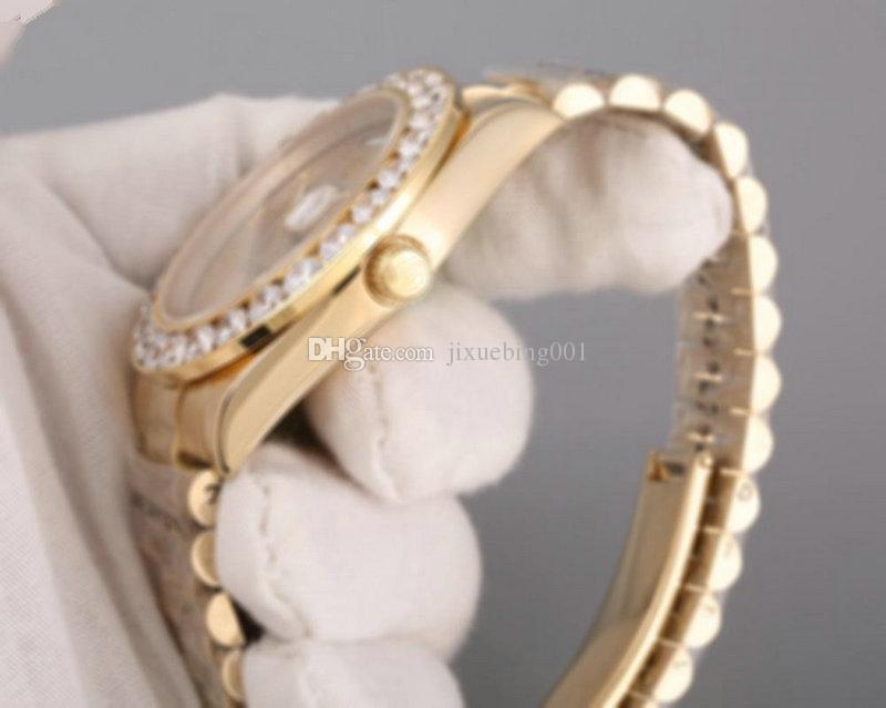 2017 Presidente Dia Data 18 K Ouro Perpétuo moda mens watch Big moldura de diamante de aço Inoxidável cinta original Automático dos homens Relógios