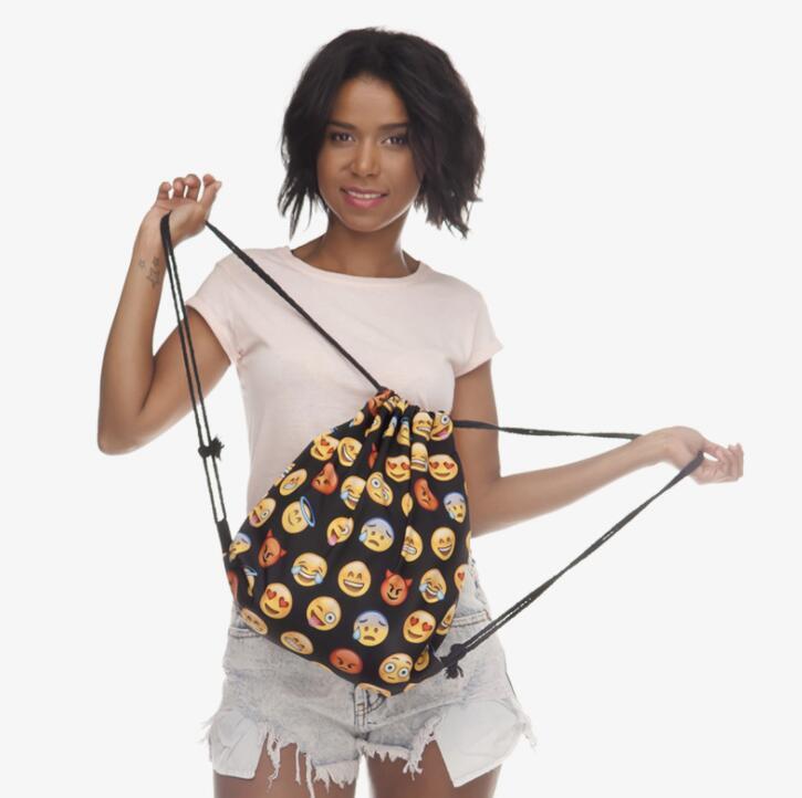 Nouveau 3D Numérique Imprimé Sac À Dos Emoji Motif Impression Sac À Dos Balles Shopping Bag Creative Cartoon sac à cordon
