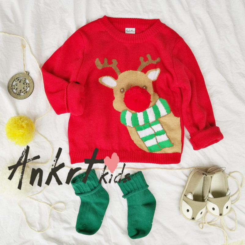 boys christmas sweater deer red girl baby kids cartoon 2017 spring autumn xmas clothes raindeer baby sweater patterns baby boy knitted sweater pattern from