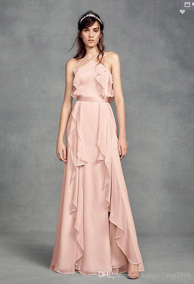 Compre Vestido De Dama De Honor De Chifón Por Encargo 2018 Con ...