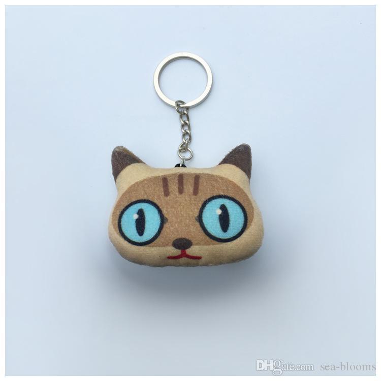 Toptan Taşınabilir Hayvanlar Yaratıcı Karikatür Kedi Anahtarlık Moda Hediye Anahtar Kolye Güzel Kızlar Anahtarlık Destek FBA Nakliye D336S