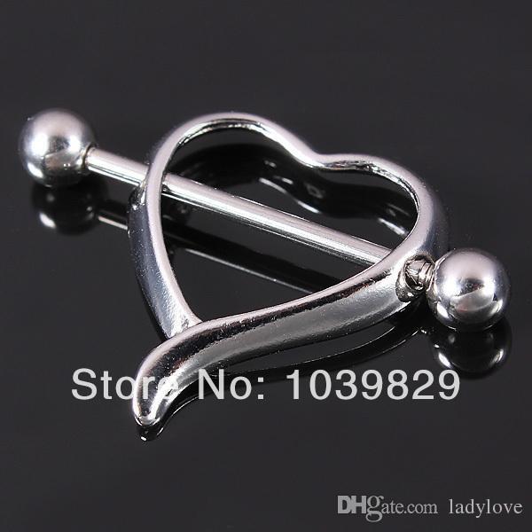 Wholesale-OP-Surgical Steel Love Heart Nipple Shield Bar Ring Body Piercing Jewelry New